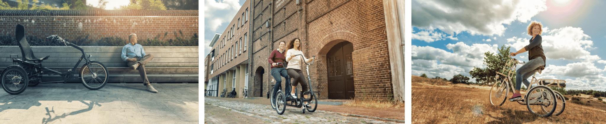 Aangepaste fietsen voor gehandicapten